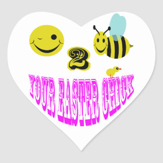 happy 2 bee your easter chick heart sticker