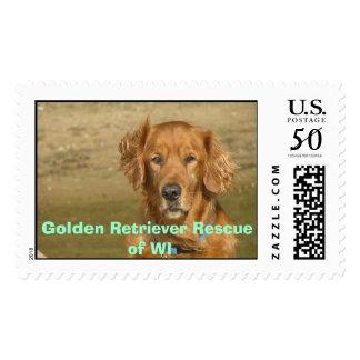 Happy #2, Golden Retriever Rescue of WI Postage