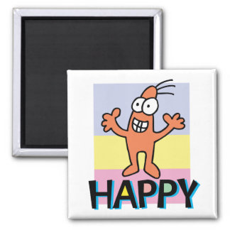 Happy 2 Inch Square Magnet