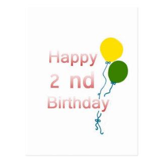 happy 2 nd birthday postcard