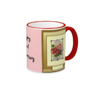 Happy 2nd Anniversary, Pink Phlox Coffee Mugs