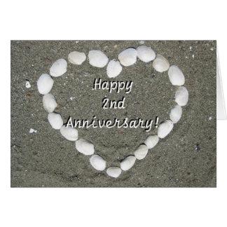 Happy 2nd Anniversary Seashell heart greeting card