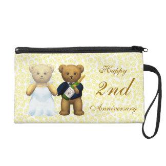 Happy 2nd Anniversary Teddy Bear Wedding couple Wristlet
