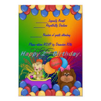 Happy 2nd Birthday 3.5x5 Paper Invitation Card