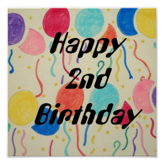 Happy 2nd Birthday Balloons And Streamers Print