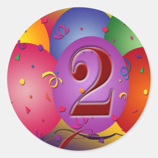 Happy 2nd Birthday Balloons Classic Round Sticker