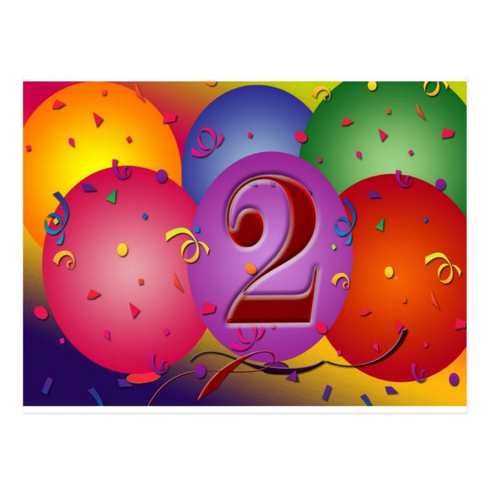 Happy 2nd Birthday Balloons Postcard