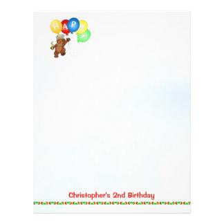 "Happy 2nd Birthday Bear Scrapbook Paper 4 8.5"" X 11"" Flyer"
