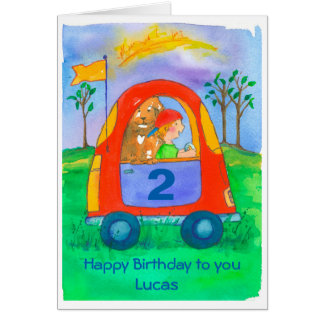 Happy 2nd Birthday Boy Custom Name Card