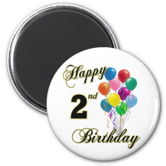 Happy 2nd Birthday Magnets and Birthday Apparel