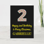 [ Thumbnail: Happy 2nd Birthday & Merry Christmas, Custom Name Card ]