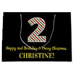 [ Thumbnail: Happy 2nd Birthday & Merry Christmas, Custom Name Gift Bag ]