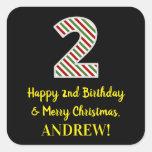 [ Thumbnail: Happy 2nd Birthday & Merry Christmas, Custom Name Sticker ]
