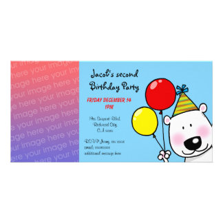 Happy 2nd birthday party invitations photo cards