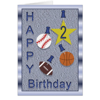 Happy 2nd Birthday Sports Themed Greeting Card