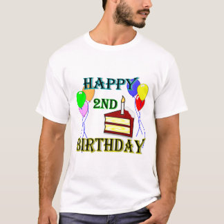 Happy 2nd Birthday T-Shirt with Cake and Balloons