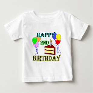 Happy 2nd Birthday T Shirt With Cake And Balloons