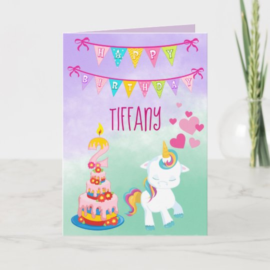 Happy 2nd Birthday Unicorn Theme Baby Girl Card