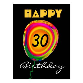 Happy 30Birthday - Colorful Gold Green Red Balloon Postcard