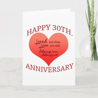 Happy 30th Anniversary Card
