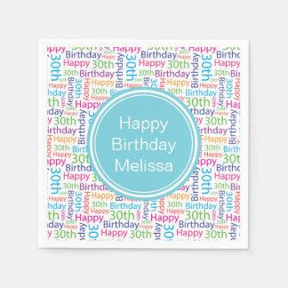 Happy 30th Birthday Custom Name Napkin