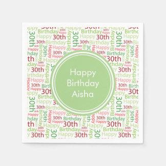 Happy 30th Birthday Custom Name Paper Napkin