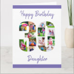 "Happy 30th Birthday Daughter No. 30 Photo Collage Card<br><div class=""desc"">Say Happy 30th Birthday Daughter with a unique birthday card and your own custom photo collage. This birthday card for your daughter has feminine script typography in purple and simple styling in order to focus on your pictures in the number 30. The template is set up for you to edit...</div>"