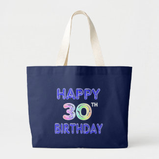 Happy 30th Birthday Design in Balloon Font Canvas Bag