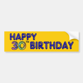 Happy 30th Birthday Design in Balloon Font Bumper Sticker