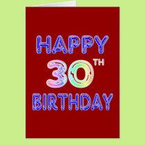 Happy 30th Birthday Design in Balloon Font Card
