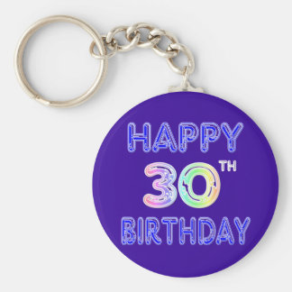Happy 30th Birthday Design in Balloon Font Keychain