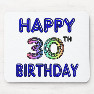 Happy 30th Birthday Design in Balloon Font Mouse Pads
