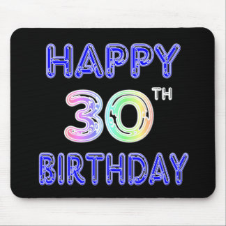 Happy 30th Birthday Design in Balloon Font Mouse Mat