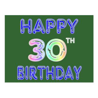 Happy 30th Birthday Design in Balloon Font Postcard