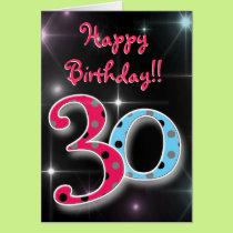 Happy 30th birthday fun & bright polka dot card