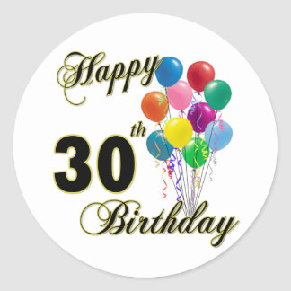 Happy 30th Birthday Gifts and Birthday Apparel Classic Round Sticker