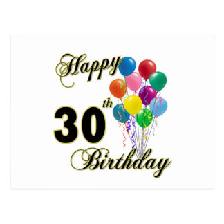 Happy 30th Birthday Gifts and Birthday Apparel Postcard