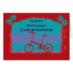 Happy 30th Birthday Greeting Card, Red Bicycle Card