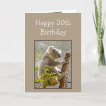 """Happy 30th Birthday Koalified """"Over the Hill"""" Fun Card"""
