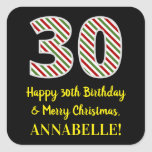 [ Thumbnail: Happy 30th Birthday & Merry Christmas, Custom Name Sticker ]