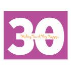 Happy 30th Birthday Milestone Postcards in purple