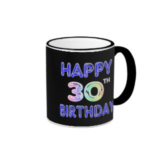 Happy 30th Birthday Mug in Balloon Font