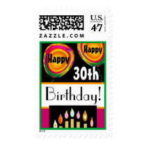 Happy 30th Birthday Orange Pink Balloons Candles Postage