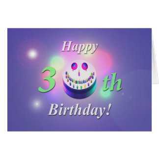 Happy 30th Birthday Smiley Cake Card