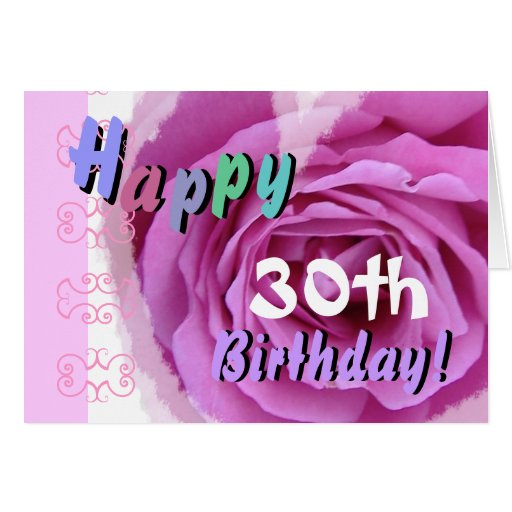 HAPPY 30th  BIRTHDAY  with Pink Rose Heart Greeting Card