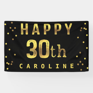 Happy 30th Faux Gold Foil Confetti Black Banner