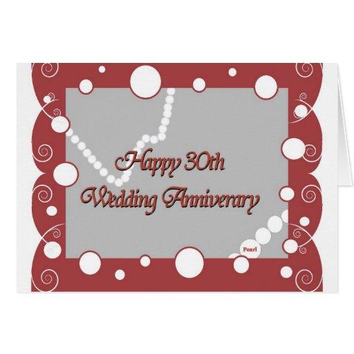 Happy 30th Pearl Wedding Anniversary Greeting Card Zazzle