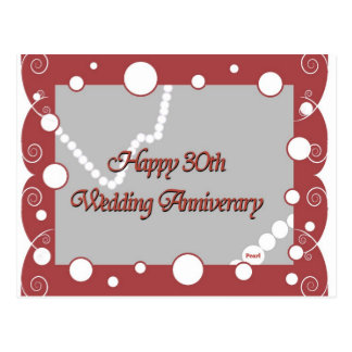 Happy 30th. Pearl Wedding Anniversary Postcard