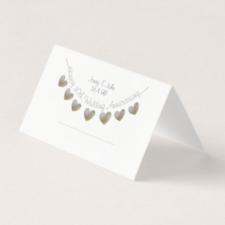 Happy 30th Wedding Anniversary pearl heart bunting Place Card