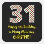 [ Thumbnail: Happy 31st Birthday & Merry Christmas, Custom Name Sticker ]